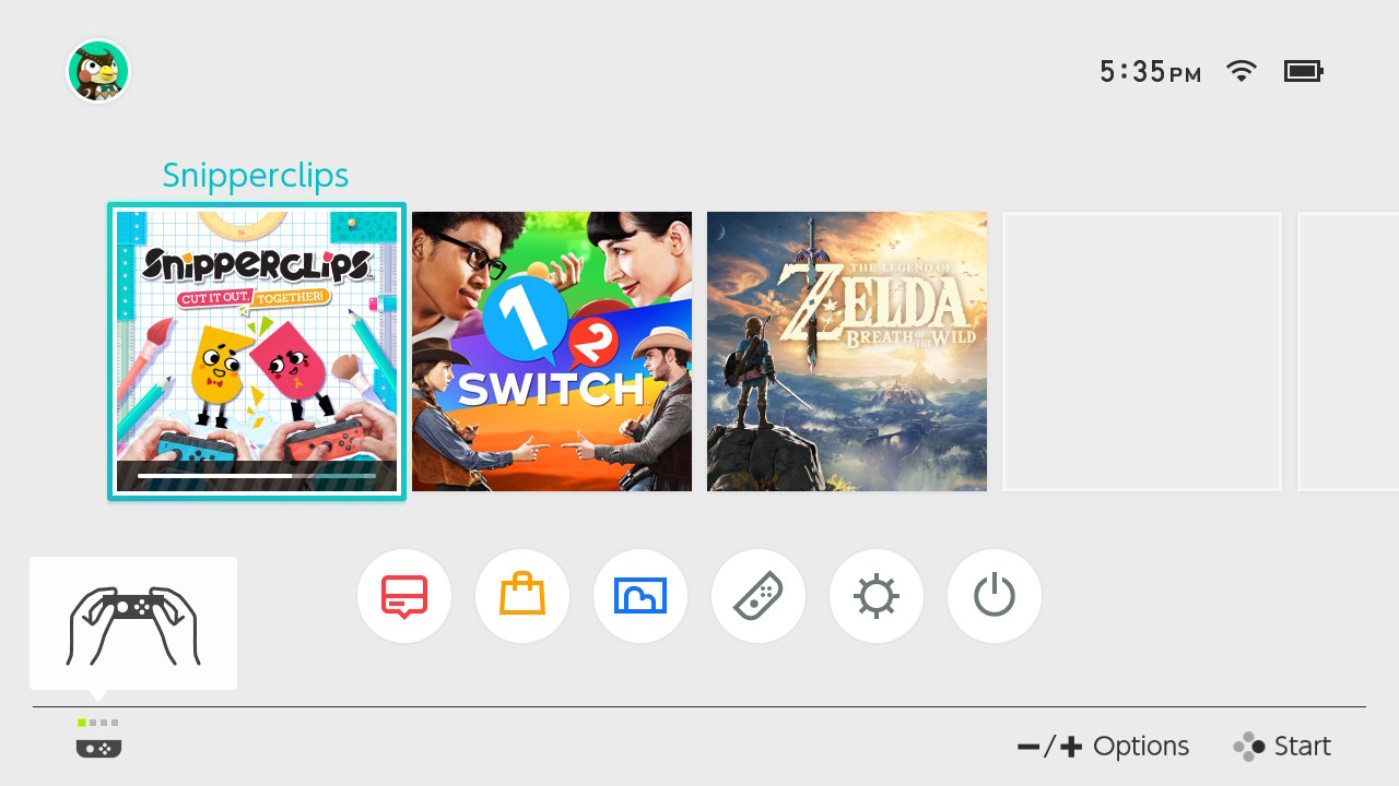 Nintendo Switch homescreen menu screenshot